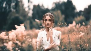 Yuri Egoroff Women Ksenia Kokoreva Brunette White Clothing Makeup Looking At Viewer Eyeshadow Nature 2000x1333 Wallpaper