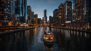 Photography Water Night Lights Clouds Building Chicago USA River 1920x1080 Wallpaper