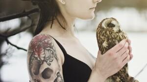 Women Model Brunette Long Hair Tattoo Black Tops Women Outdoors Closed Eyes Bare Shoulders Dreadlock 1365x2048 Wallpaper
