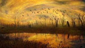 Flock Of Birds Painting 3840x2160 Wallpaper