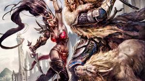 Battle Dagger Lion Warhammer Online Age Of Reckoning Warrior Woman Warrior 1920x1200 Wallpaper