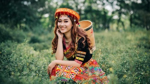 Asian Brown Eyes Depth Of Field Girl Model Smile Traditional Costume Woman 2048x1365 wallpaper