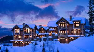 Resort Snow Sunset Winter 2500x1667 Wallpaper
