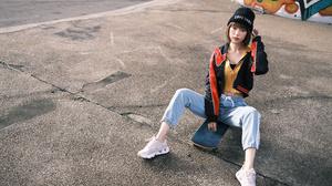 Asian Model Women Women Outdoors Dark Hair Depth Of Field Sitting Skateboard Sneakers Jeans Wool Cap 3072x2048 Wallpaper