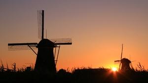 Building Silhouette Sky Sunrise Windmill 5472x3648 Wallpaper
