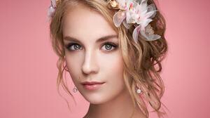Oleg Gekman Women Blonde Hairband Flowers Makeup Earring Lipstick Eyeliner Lip Gloss Looking At View 2048x1536 Wallpaper