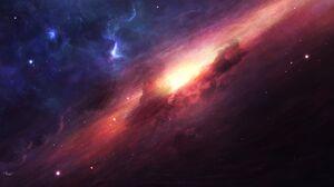 Space Milky Way Stars Andromeda Nebula Sky Purple Sky Black Holes 7860x4320 Wallpaper