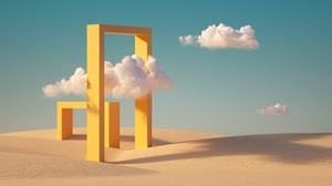 3D Render Artwork Sky Clouds Landscape Abstract Geometry Yellow Desert Sand Dunes 6000x3375 wallpaper