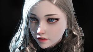 JD Styles White Hair Looking Into The Distance Portrait Open Mouth Blue Eyes Women Face Black Backgr 3800x2300 Wallpaper
