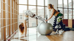 Two Women Women Model Exercise Ball Gym Clothes Handstand Working Out Sneakers Long Hair 1422x800 Wallpaper