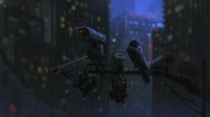 Digital Art Rain Crow Camera City Lights City Big Brother Pillar 2500x1399 Wallpaper