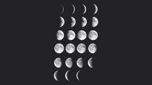 Moon Space Minimalism Moon Phases Simple Background 1600x900 wallpaper
