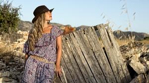 Dress Fence Girl Hat Mood 2048x1366 Wallpaper