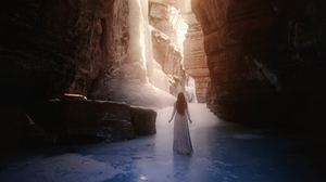TJ Drysdale Landscape Women Canyon Nature Ice Water Sun Rays 1000x1500 wallpaper