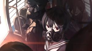 Anime Anime Girls Red Eyes Short Hair Brunette Metro Sailor Uniform Respirator Light Effects Closed  2942x1590 Wallpaper