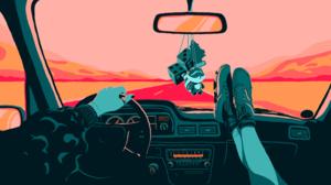 Vehicle Driving Rearview Mirror Steering Wheel Raccoons Road Dice Shoes Jorge Artola Vents 3840x2160 Wallpaper