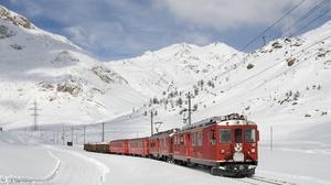 Electric Train Mountain Snow Train Vehicle Winter 1920x1440 Wallpaper