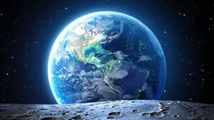 Space World Moon Stars Orbital View Sea Atmosphere Digital Art 3834x2157 Wallpaper