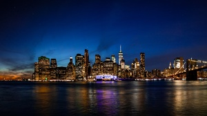 Building City Manhattan New York Night Skyscraper Usa Water 7753x4362 Wallpaper