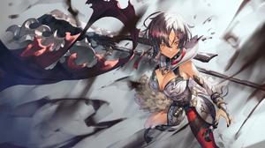 Weapon Anime Girls Short Hair Yellow Eyes 2000x1325 Wallpaper