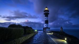Cloud Horizon Lighthouse Night 2560x1605 Wallpaper