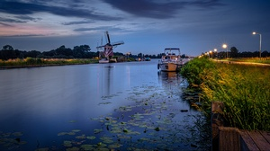 Boat Canal Evening Netherlands 2048x1118 Wallpaper