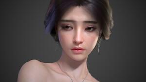 Asian Women Render CGi Digital Art Face Looking Away ArtStation Dark Hair Gray Background Simple Bac 1920x1152 Wallpaper