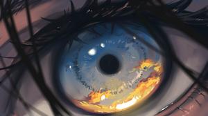 Anime Eyes Closeup Anime Girls Reflection Sunset Artwork Arttssam 1920x1080 wallpaper
