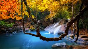 Fall Foliage Lake Nature Rock Stream 3200x2000 Wallpaper