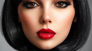Face Closeup Women Makeup Fashion Black Hair Model Brown Eyes Short Hair Portrait Red Lipstick Shiny 2400x1800 Wallpaper