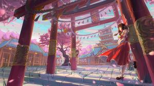 Building Chen Touhou Cirno Touhou Dress Girl Reimu Hakurei Suwako Moriya Torii Touhou 5919x3462 Wallpaper