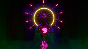 Neon Statue Pink Knife Heart Cyberpunk Glowing Eyes Glowing 3840x2160 wallpaper