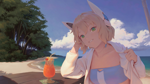 Beach Cloud Girl Greenery Juice Table 1920x1238 Wallpaper