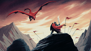 Illustration Knight Dragon Creature Armored Sword Fantasy Art 3840x2160 Wallpaper
