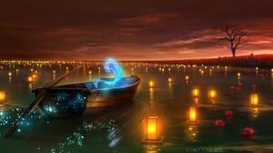 Boat Lake Night Lantern 2181x1104 Wallpaper
