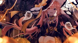 Anime Anime Girls Halloween Witch Hat Pink Hair Long Hair Heterochromia Dress 2135x1673 Wallpaper