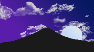 Night Clouds Sky Gradient Silhouette Dark Drawing Moon Nature XEBELiON Mountains 4096x2160 Wallpaper