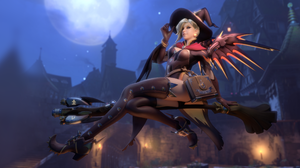 Witch Mercy Mercy Overwatch Overwatch Halloween Witch Thigh Highs Broom Witches Broom Night Moonligh 5120x1440 Wallpaper