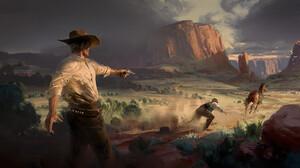 Morten Solgaard Pedersen Digital Art Fantasy Art Cowboy Desert Horse Pistol 1920x902 wallpaper