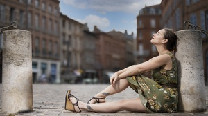 Women Outdoors Women Outdoors Urban Sitting Dress Wedge Shoes Legs Green Dress Closed Eyes Inked Gir 3840x2160 Wallpaper
