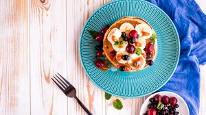 Berry Breakfast Fruit Pancake Still Life 5630x3758 Wallpaper