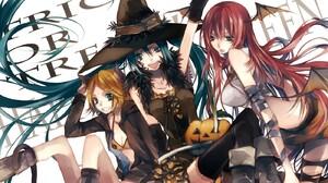 Kagamine Rin Megurine Luka Hatsune Miku Halloween Vocaloid Anime Anime Girls 1400x986 Wallpaper