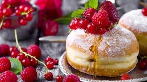 Berry Currants Doughnut Pastry Raspberry Still Life Strawberry 2048x1360 Wallpaper