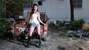Asian Model Women Long Hair Brunette Pickup Trucks Boots Necklace Short Tops 1920x1275 Wallpaper