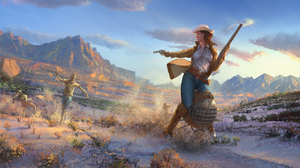 Cowgirl Fallout Landscape Rifle Undead Zombie 2560x1440 wallpaper