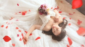Model Women Asian Red Lipstick Closed Eyes White Dress Lying Down Flowers 2880x1620 wallpaper