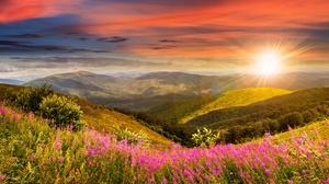 Landscape Meadow Mountain Nature Pink Flower Sky Sunrise 4646x2323 Wallpaper