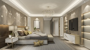 Bed Bedroom Chandelier Furniture Room 2867x2150 Wallpaper