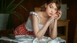 Nastasya Parshina Women Olya Pushkina Brunette Looking Away Blue Eyes Blouse White Clothing Skirt Ir 1280x853 Wallpaper