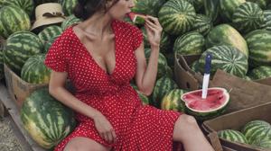 David Dubnitskiy Women Brunette Dress Dots Sweat Heat Food Fruit Watermelons Knife Hat Barefoot Eati 1914x2500 wallpaper